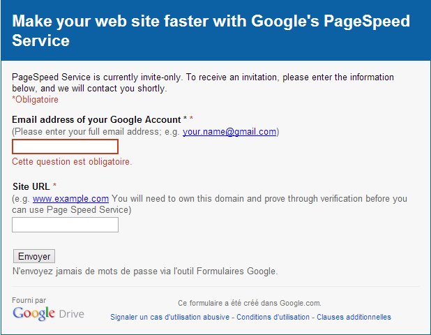 Google PageSpeed Service approval analysis report